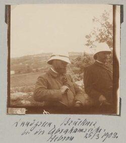 Fotoalbum Lundgreen, Brückner Bei der Abrahamseiche. Hebron 25/3 1908.