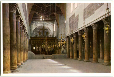 Postkarte Bethlehem. Inneres der Geburts-Kirche