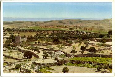 Postkarte Bethlehem. Blick nach der Wüste und dem Hirtenfeld