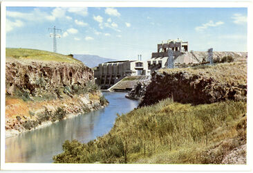 Postkarte The Ruthenberg Power Station at the Jordan River. L