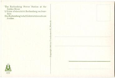 GDIs01840; Postkarte; The Ruthenberg Power Station at the Jordan River. L'Usine d'electricité Ruthenberg au Jourdain. Das Ruthenberg'schen Elektrizitätswerkes am Jordan, Schuber [GDIs01820] mit 74 Farbdruck-Postkarten [GDIs01821-37, 39-95] und einem Begleitheft [GDIs01838]