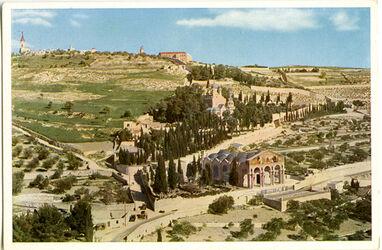 Postkarte Jerusalem. Der Ölberg, im Vordergrund Kirche und Garten Gethsemane