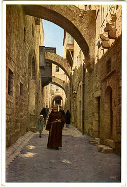 Postkarte Jerusalem. Via Dolorosa von Osten