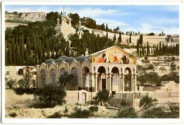 Postkarte Jerusalem. The Church of Gethsemane. Gethsémani. Die Gethsemane-Kirche