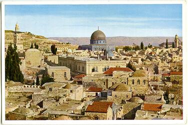 Postkarte Jerusalem. Blick vom Damaskus-Tor gegen Südsten