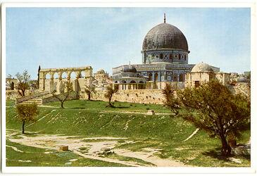 Postkarte Jerusalem. Der Tempelplatz mit dem Felsendom und dem Kettendom von Nordosten