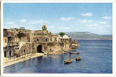Postkarte Uferstraße von Tiberias und See Genezareth