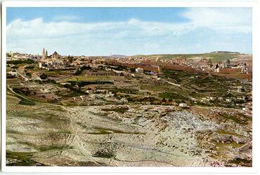 Postkarte Jerusalem. Blick vom Mukabber-Berg im Süden