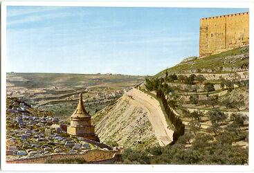 Postkarte Jerusalem. Das Kidrontal, Blick gegen Süden, im Vordergrund das Grab Absaloms, rechts oben die Südostecke des Tempelplatzes