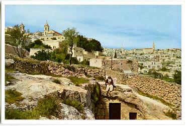 Postkarte Bethlehem. Links die Geburtskirche