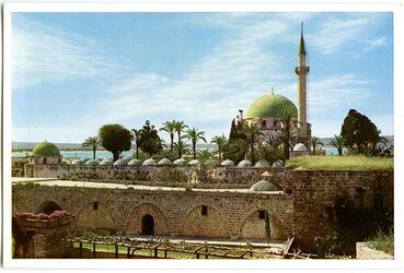 Postkarte Akkâ [Akko]. Die vom Dschezzar Pascha erbaute Moschee