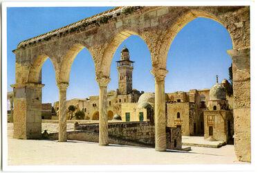 Postkarte Jerusalem. Blick auf den Westrand des Tempelplatzes