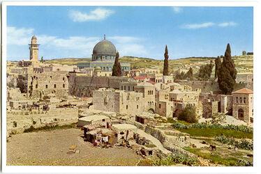Postkarte Jerusalem. Blick auf den Tempelplatz von Südwest