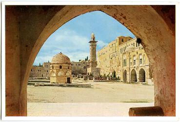 Postkarte Jerusalem. Blick auf die Nordostecke des Tempelplatzes (Burg Antonia)