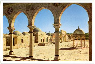 Postkarte Jerusalem. Blick auf die Nordseite der oberen Terrasse des Tempelplatzes von Westen