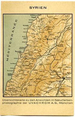 Karte Syrien. Übersichtskarte zu den Ansichten in Naturfarbe-photografie der UVACHROM A.G. München