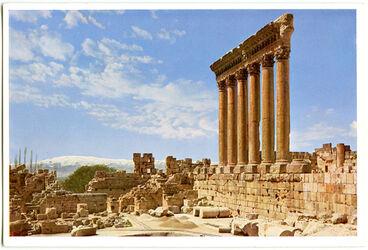 Postkarte Baalbek. Jupitertempel, Die sechs Säulen