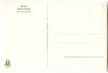 GDIs01913; Postkarte; Beirut. Nahr el-Kelb. Der Hundsfluß, Schuber [GDIs01896] mit 44 Farbdruck-Postkarten [GDIs01898-1941] und einer Syrienkarte [GDIs01897]