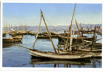 Postkarte Beirut. Blick am Hafen