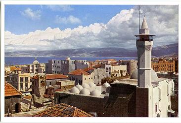 Postkarte Beirut. Stadtansicht (im Vordergrund die Moschee en-Noufara