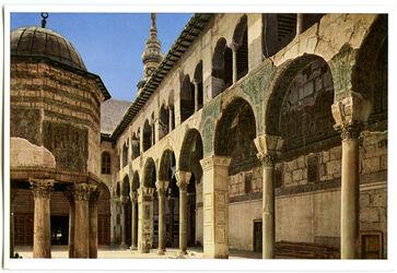 Postkarte Damaskus. Arkaden im Hof der Omaijadenmoschee