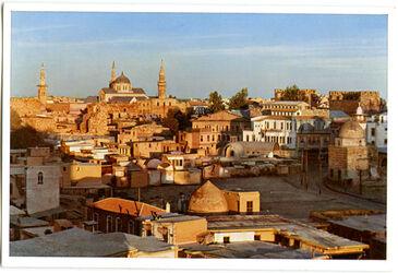 Postkarte Damaskus. Die Omaijadenmoschee im Abendbrot