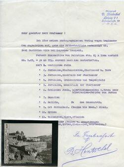 Postkarte Jerusalem, Stadtmauer u. Aksa-Mosche v. Süden [geheftet an Werbeschreiben von Bruno Hentschel, Fotograf, Leipzig