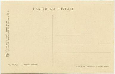 GDIs02233; Postkarte; Rodi [Rhodos]. I vecchi molini., Hülle [GDIs02225] mit 12 Postkarten [GDIs02227-238]: Cartoline di Rodi. Serie prima