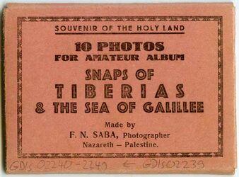 Postkarte [Hülle für Postkartenserie] Souvenir of the Holy Land. 10 Photos for amateur album. Snaps of Tiberias & the Sea of Galillee