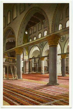 Postkarte Jerusalem. Die Aksa Moschee, Inneres vom Seitenschiff