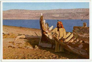 Postkarte Jericho im Vorderdgrund links die Eliasquelle, rechts Ruinen des alten Jericho, im Hintergrund das Tote Meer (rechts) und die Moabiterberge