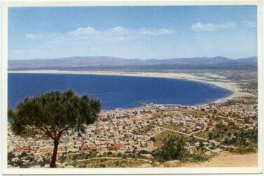 Postkarte Haifa. Stadt und Buch. Berge Galiläas vom Karmel
