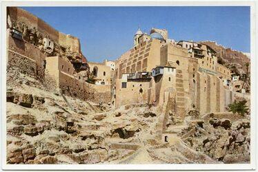 Postkarte The Monastery of Mar Saba. Le Convent de Mar Saba. Das Kloster Mar Saba