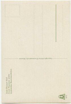 GDIs02300; Postkarte; Arab Peasant Girl. Jeune Paysante arabe. Arabisches Bauernmädchen, Bestand von rund 60, teils losen, teils zu Lieferungen zusammengefassten Farbpostkarten [GDIs02249-2317]