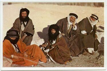 Postkarte A group of Beduins. Grope de Bédouins. Beduinengruppe