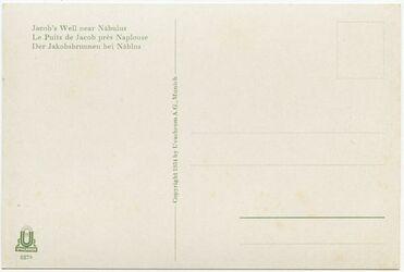 GDIs02305; Postkarte; Jacob's Well near Nablus. Le Puits de Jacob près Naplouse. Der Jakobsbrunnen bei Nablus, Bestand von rund 60, teils losen, teils zu Lieferungen zusammengefassten Farbpostkarten [GDIs02249-2317]