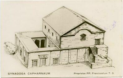 Postkarte Synagoga Capharnaum [Kafarnaum]. Proprietas PP. Franciscalium T. S.