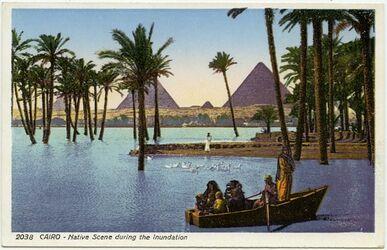 Postkarte Cairo [Kario] - Native Scene during the Inundation