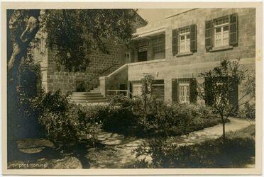 Postkarte Pension Appinger (Deutsches Haus). Haifa. Carmel Avenue. Telephon 609