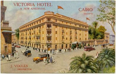 Postkarte Victoria Hotel & New Khedivial. Cairo (Egypt) J. Vocles Propietor [Kairo]