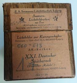 Karton Lichtbilder zur Kunstgeschichte. XXI. Deutscher Spätbarock [mit Bleistift: Jerusalem. Athen. Istanbul]
