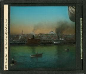 GDid00021; Glasplattendia; Stambul mit Suleimanije-Moschee [Istanbul], Diakiste (GDId00001) mit 21 Glasplatten-Farbdiapositiven (GDId00002-00022)