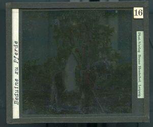 GDId00256; Glasplattendia; Beduine zu Pferde, Diakiste (GDId00265) mit 24 Glasplatten-Farbdiapositiven (GDId00241-00264)