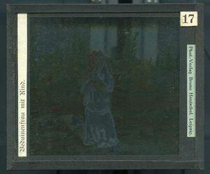 GDId00257; Glasplattendia; Beduinenfrau mit Kind., Diakiste (GDId00265) mit 24 Glasplatten-Farbdiapositiven (GDId00241-00264)