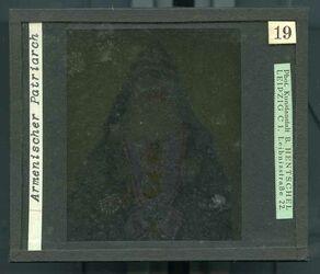 GDId00258; Glasplattendia; Armenischer Patriarch, Diakiste (GDId00265) mit 24 Glasplatten-Farbdiapositiven (GDId00241-00264)