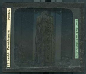 GDId00303; Glasplattendia; Ramleh [Ramla], Kreuzfahrerturm. Palästina, Diakiste (GDId00311) mit 25 Glasplatten-Farbdiapositiven (GDId00286-00310)