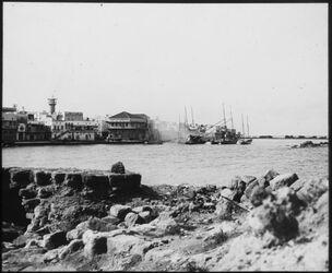 Glasplattendia Hafen von Sidon von N