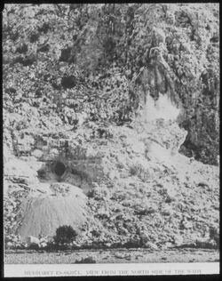 Glasplattendia Wadi mughara [wadi el-mughara], Mugharet es-skhul. Blick v. N.