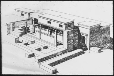 Glasplattendia Tell el husn (Beth-Sean), Rekonstr. Eines ägypt. Tempels