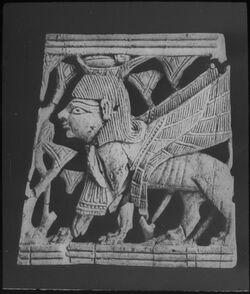 Glasplattendia Jerusalem, Pal. Arch. Mus., Elfenbeinsphinx aus Samaria [Sebastie]
